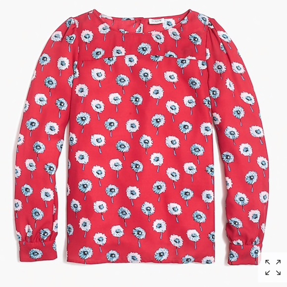 J. Crew Factory Tops - J Crew Size M Red Floral Boatneck Top